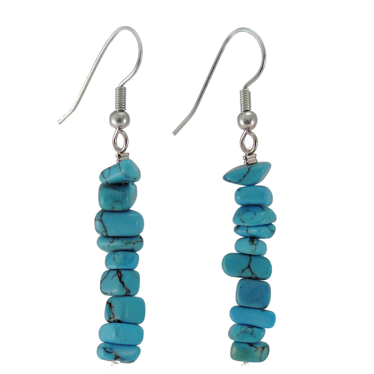 GETQ-KGEB3tq Turquoise Howlite Chip Earrings