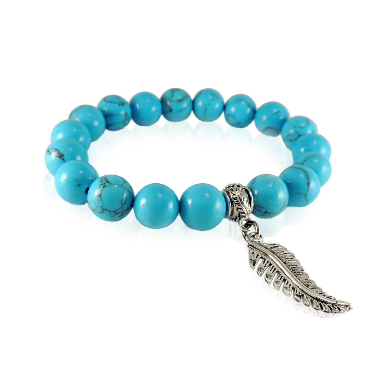 GBTQ-KGB12tq Turquoise Howlite Bracelet with Silver Fern Charm