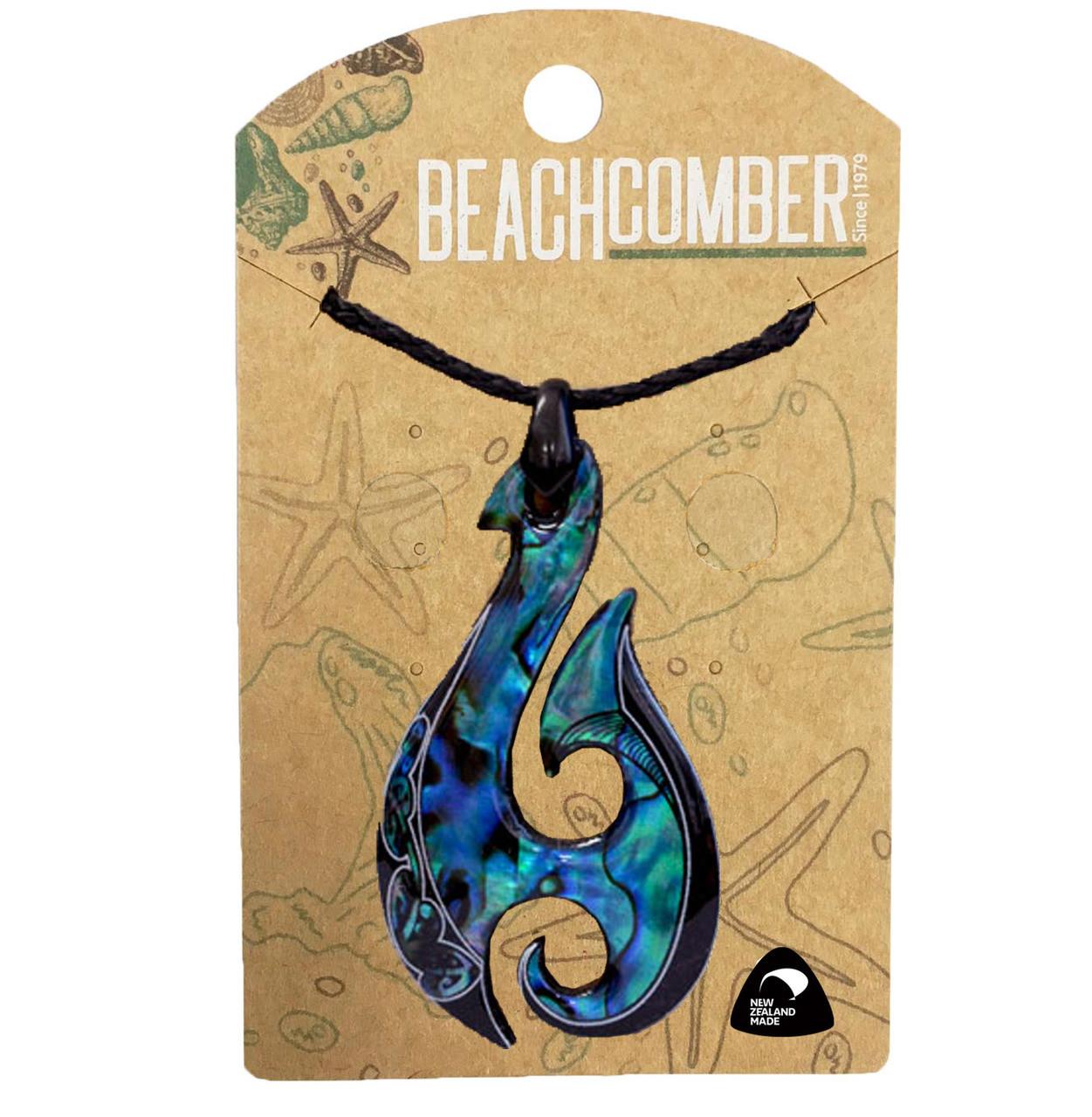 BCJ1532P Paua Pendant Fishhook Tattoo