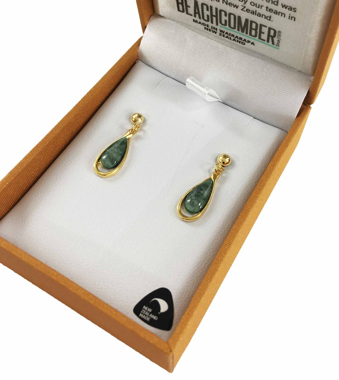 BBJ4137E NZ Pounamu Earrings Set in 22ct Gold Plated