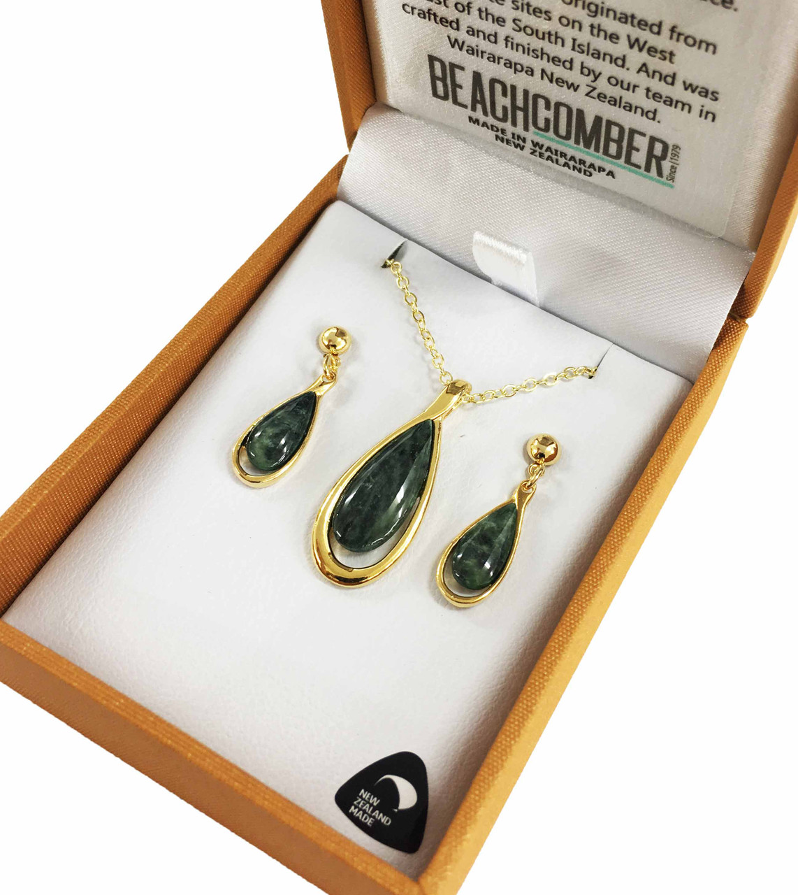 BBJ4137S NZ Pounamu and Earrings Set In 22ct Gold Plated
