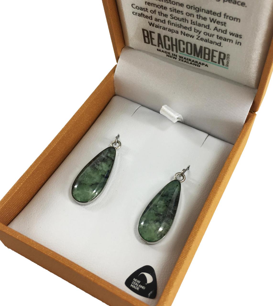 BBJ4202E NZ Pounamu Teardrop Earrings Silver Tone Boxed