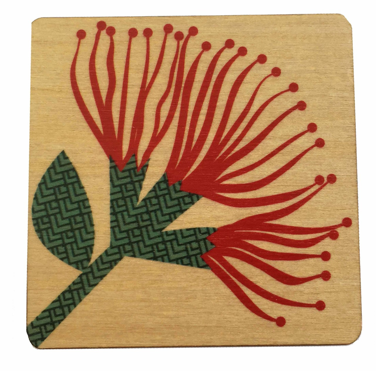 This light weight rimu wooden coaster shows a pohutukawa flower.