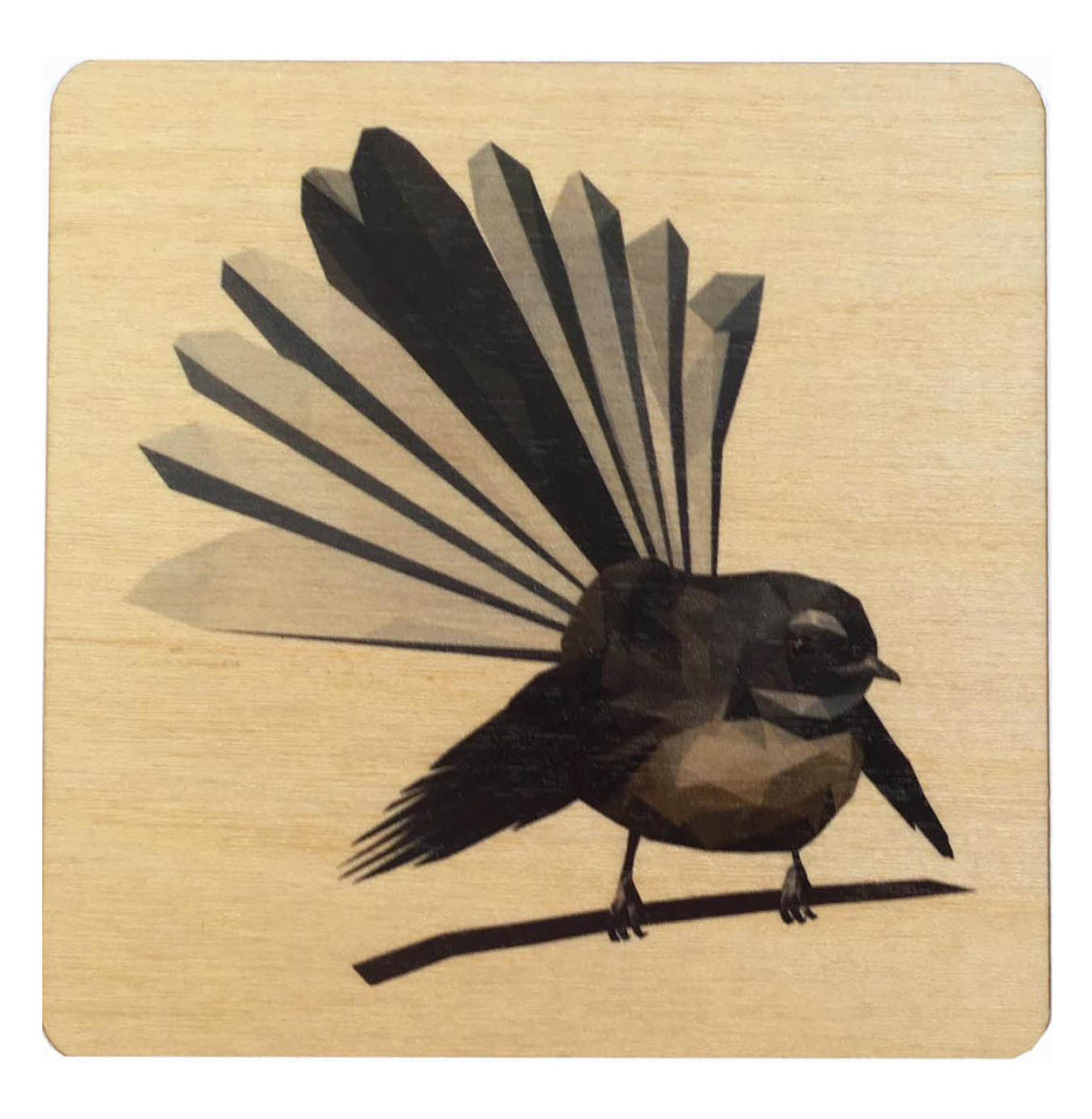 This wooden rimu light weight coaster shows a fantail, one of New Zealand's native birds.