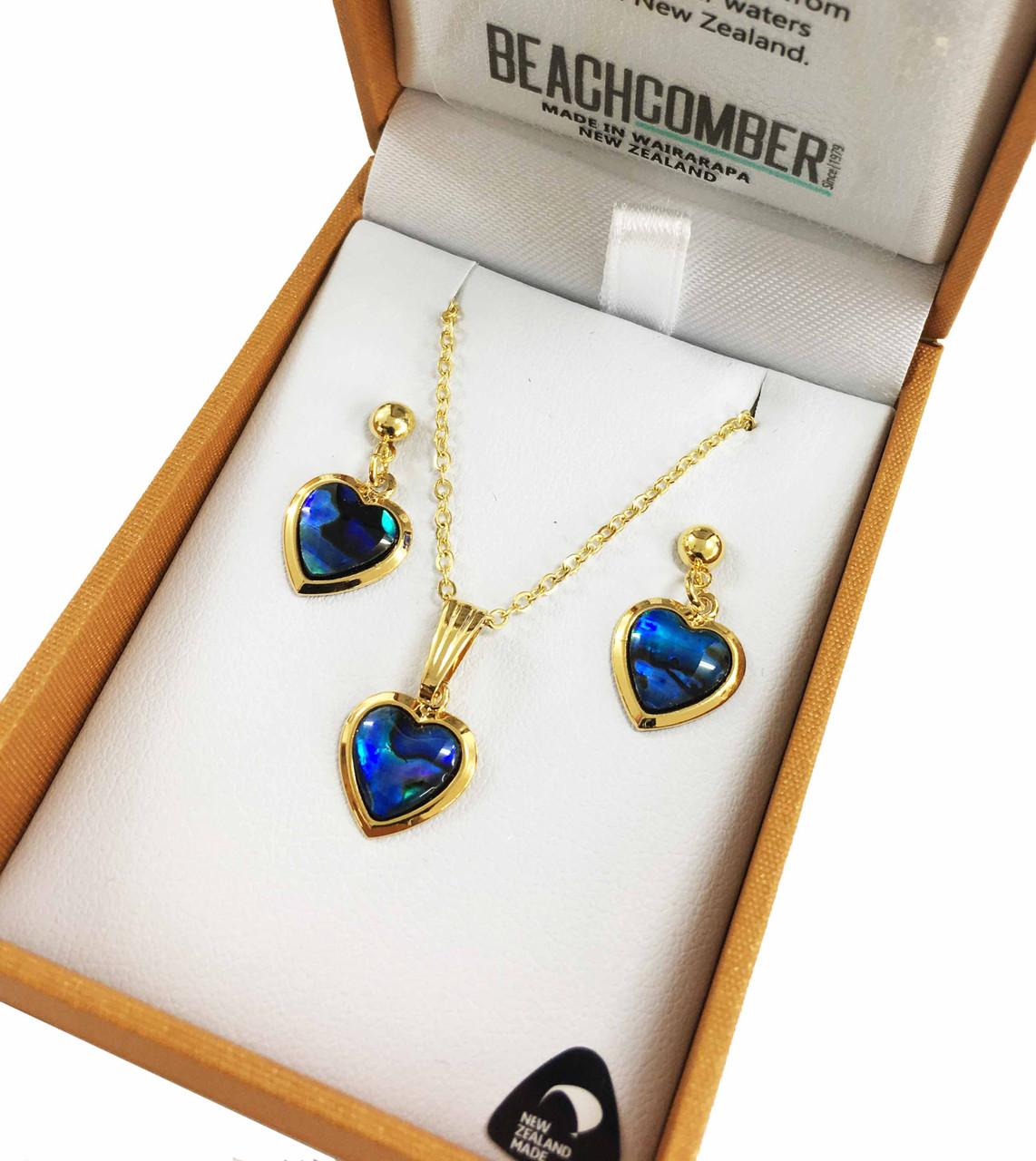 BBJ1119S Paua Love Heart Pendant and Earrings Set Gold Plated Boxed