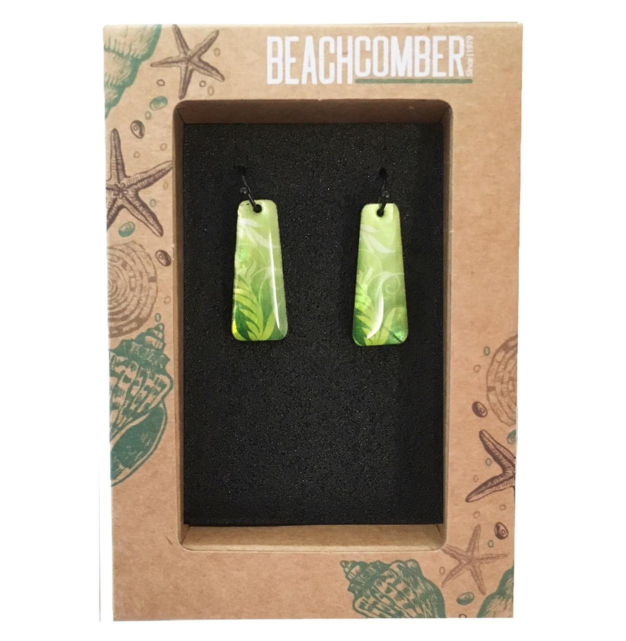 BBJ306E Earrings Pearl Green Leaf  - Boxed
