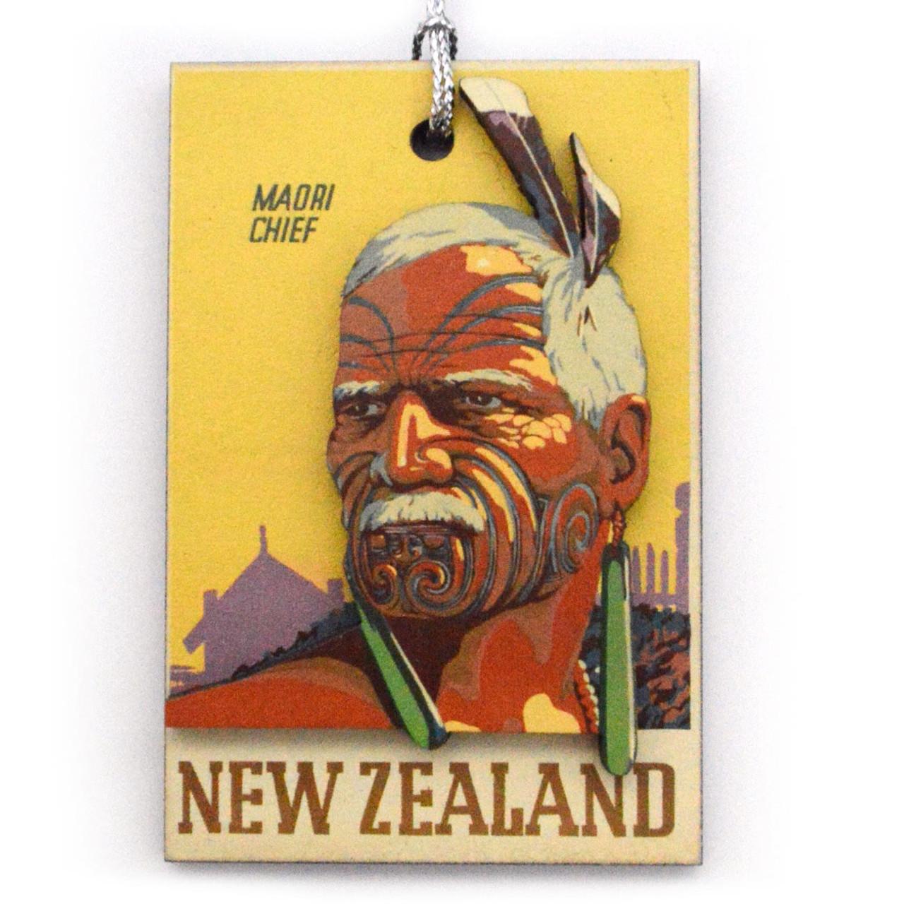 XM556 Xmas Dec 3D Maori Chief Hanging Decoration