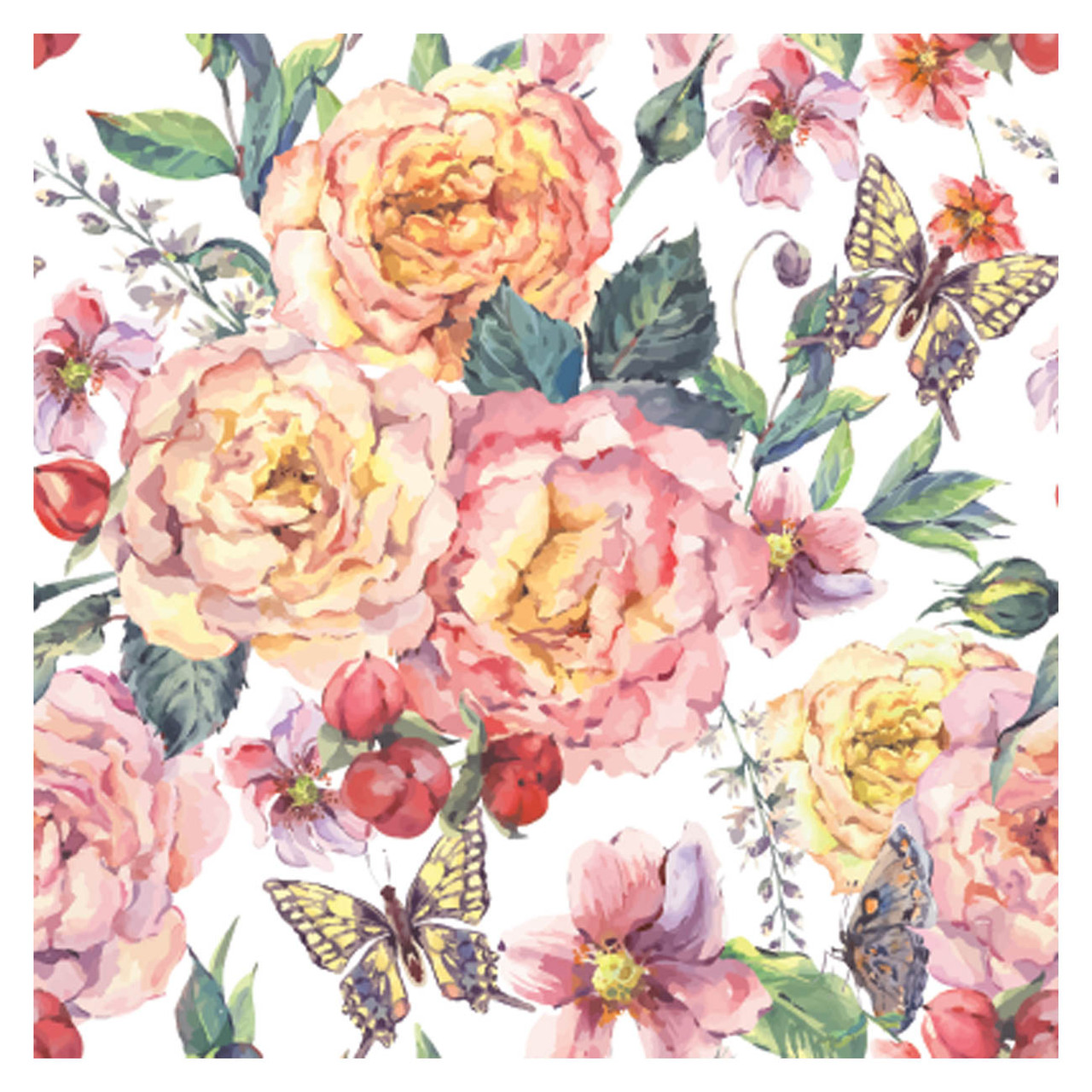 BACS941 Thirsty Coaster Floral Roses and Butterflies