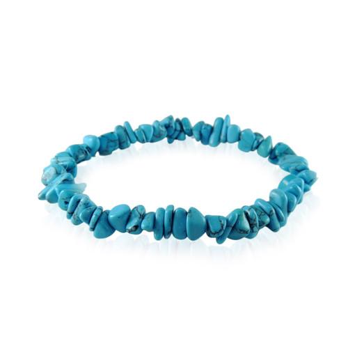 GBTQ-KGB1tq Turquoise Howlite Chip Elastic Bracelet