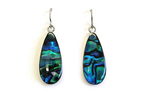 Silvertone Paua  drop earrings