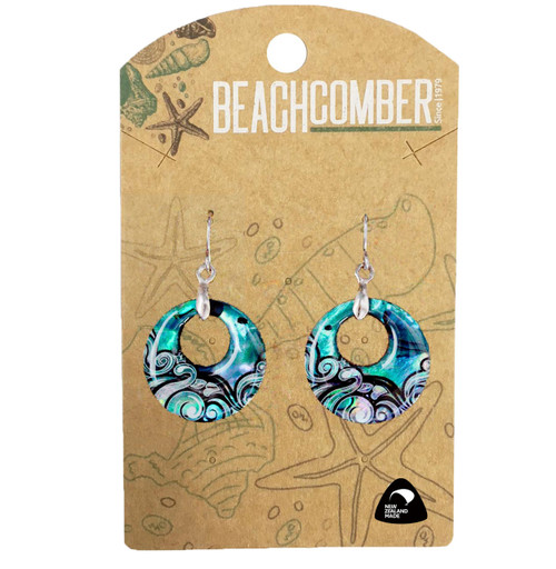BCJ1570E Paua Earrings Small Creole Wave