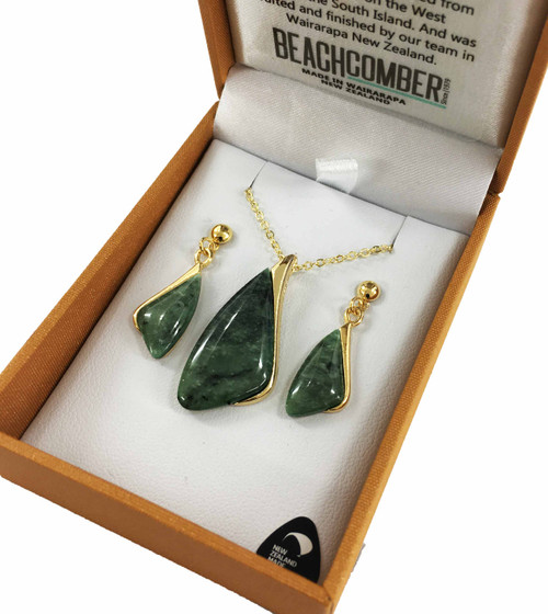 BBJ4121S NZ Pounamu Pendant and Earrings Set Gold Plated Boxed