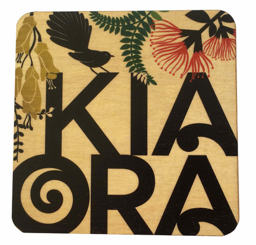 This light weight rimu wooden coaster shows the word Kia Ora, the Maori name hello, cheers, good luck and best wishes.