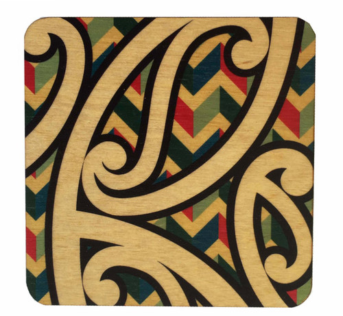 This light weight rimu wooden coaster shows the word kowhaiwhai, the Maori name for painted scroll ornamentation commonly used on Maori meeting house rafters.