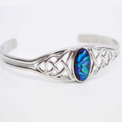 Paua Bangle Silver Celtic with oval shaped inlaid paua shell.