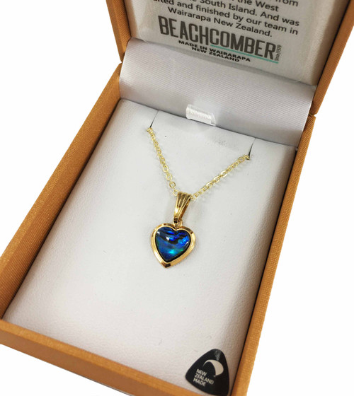BBJ1119P Paua Love Heart Pendant Gold Plated Boxed