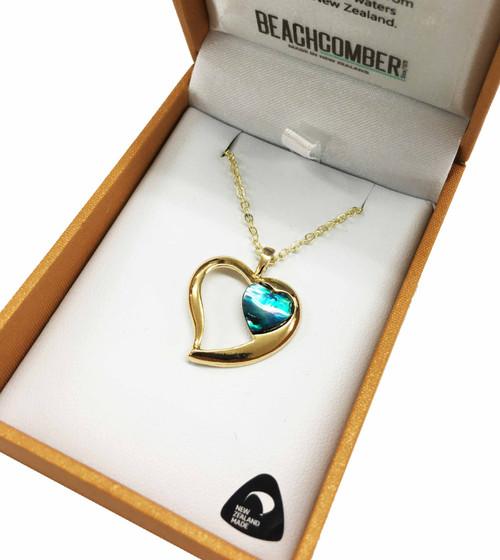 BBJ1188P Paua Gold Plated Love Heart Pendant Boxed