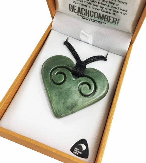 BBJ4013P NZ Pounamu Love Heart Pendant Boxed