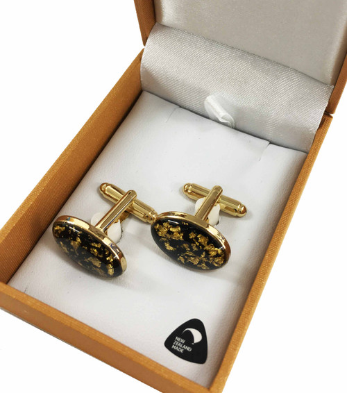BBJ7113C Gold Flake Oval Cufflinks Gold Plated Boxed