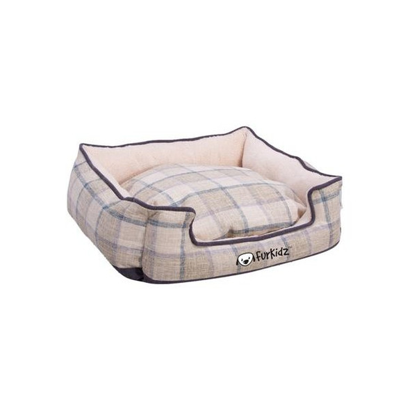 Furkidz Linen Double Colour Bed Beige/Brown Medium 63X53X20Cm