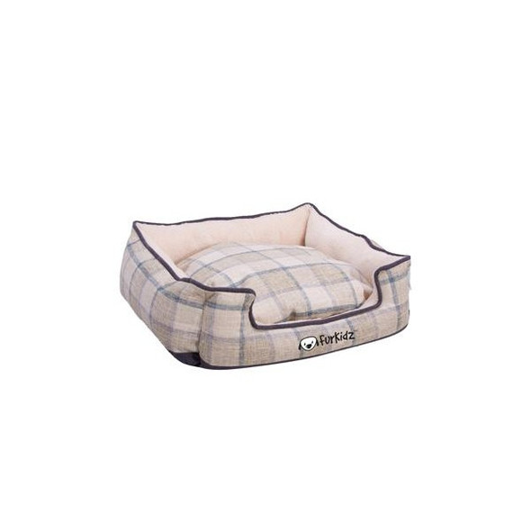 Furkidz Linen Double Colour Bed Beige/Brown Small 48X35X17Cm