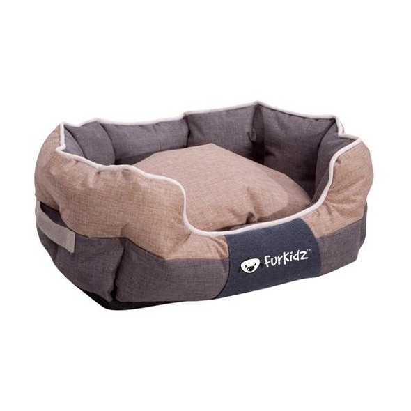 Furkidz Oval Bed Beige/Brown Large