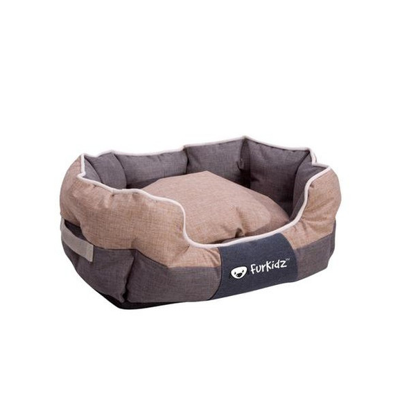 Furkidz Oval Bed Beige/Brown Medium