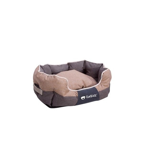 Furkidz Oval Bed Beige/Brown Small