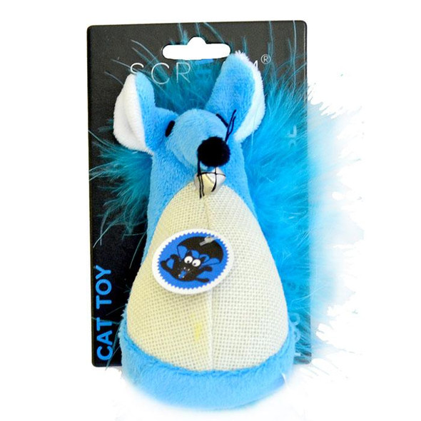 Scream - Fatty Mouse Cat Toy Blue 13cm