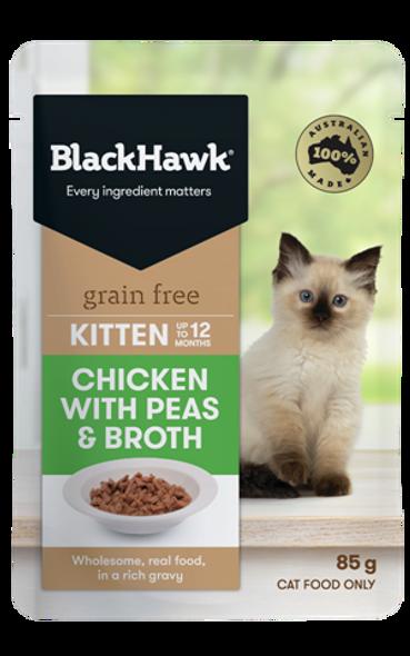 Black Hawk Cat Wet Kitten - Chicken w/ Peas & Broth 85gx12