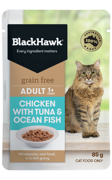 Black Hawk Cat Wet Adult  - Chicken w/ Tuna & Ocean Fish 85g (Individual)