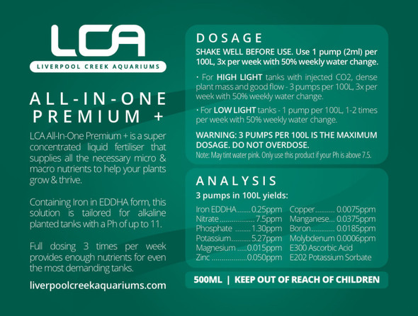 LCA - All-In-One Premium+ 500ml (Planted/Ph above 7.5)