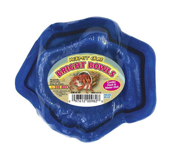Zoo Med Hermit Crab Water/Food Bowls NEON BLUE