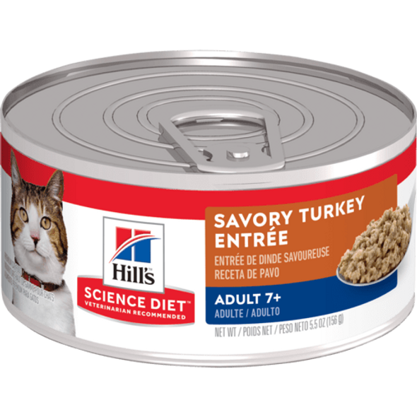 Science Diet Cat Can Adult 7+ Turkey Entree 156g - 24 Can Slab