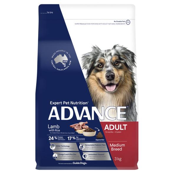 Advance Dog Adult Medium Breed - Lamb & Rice 15Kg