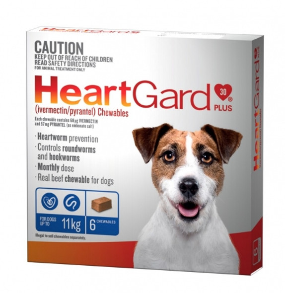 Heartgard Plus Dog Chewables Up To 11Kg 6 Pack