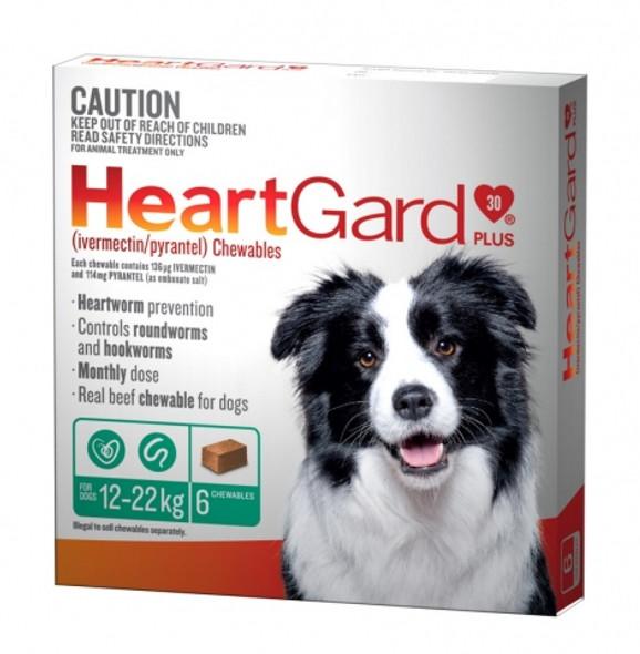 Heartgard Plus Dog Chewables 12-22Kg 6 Pack