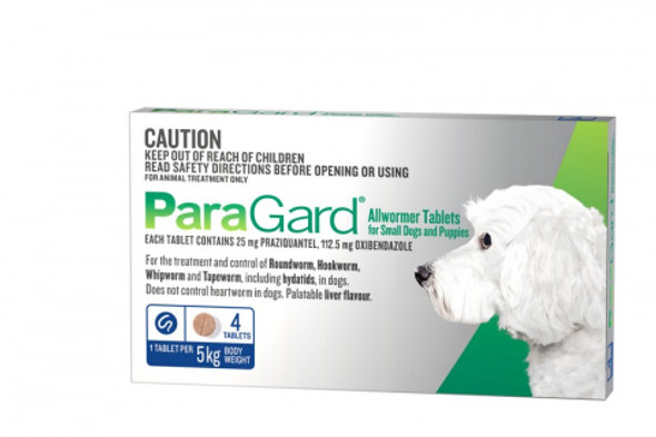 Paragard Small Dogs/Puppies (Up To 5Kg 4 Pack)