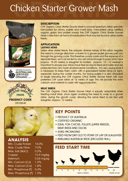 Country Heritage Organic Chick Starter/Grower Mash 20kg
