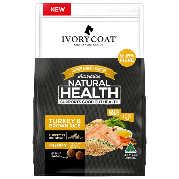 Ivory Coat Wholegrains - Puppy Turkey & Brown Rice 18Kg