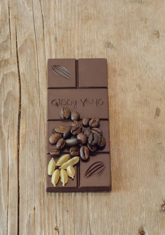 Giddy Yo Moka Cardamom 72% Dark Chocolate Bar Certified Organic 62g