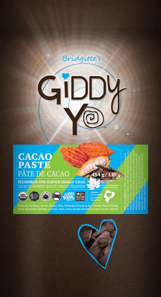 Front Giddy Yo CACAO PASTE (Ecuador) Certified Organic 454g / 1 lb