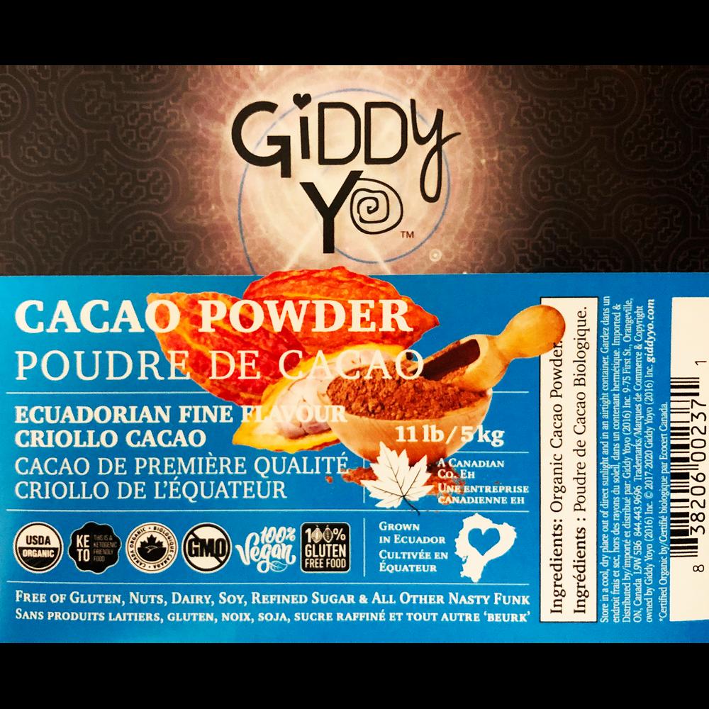 Giddy Yo CACAO POWDER (Ecuador), BULK 5 KG / 11 LBS, Certified Organic