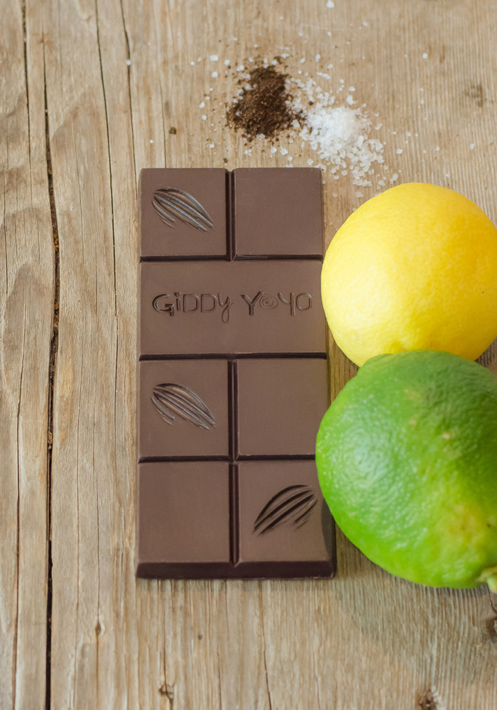 Giddy Yo Limon Salt 76% Dark Chocolate Bar Certified Organic 62g