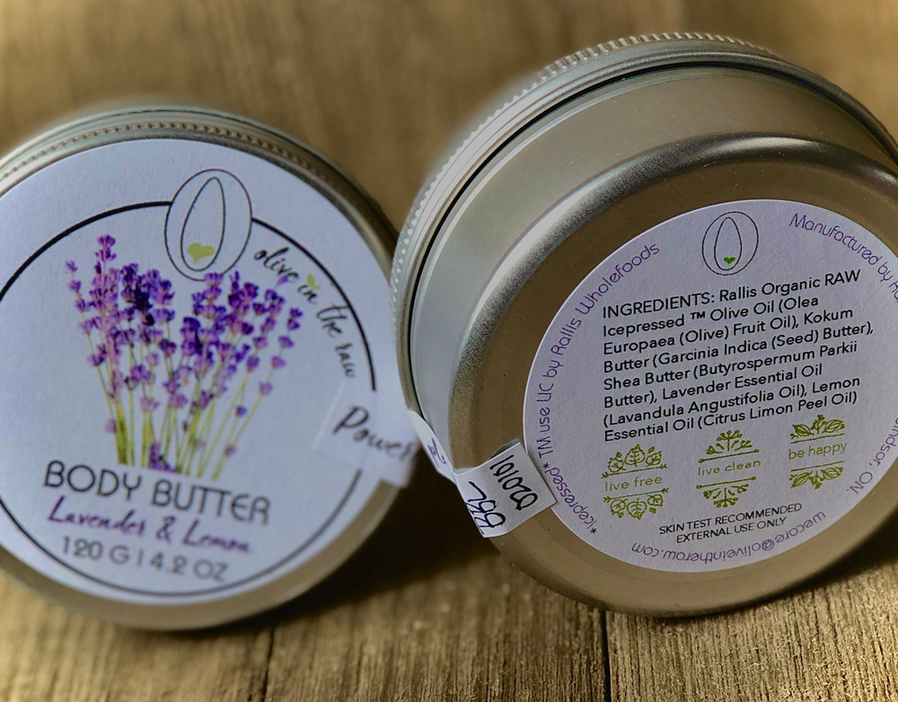 'Olive In The Raw' (Rallis) Body Butter - Lavender & Lemon 120g / 4.2oz