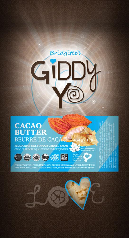FrontLabel-CACAO BUTTER (Ecuador), 454 G / 1 LB, Certified Organic (CBT-ORG-454)