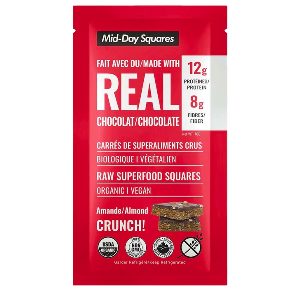 Almond Crunch Mid-Day Squares, 70g, Org & Vegan, Refrigerated