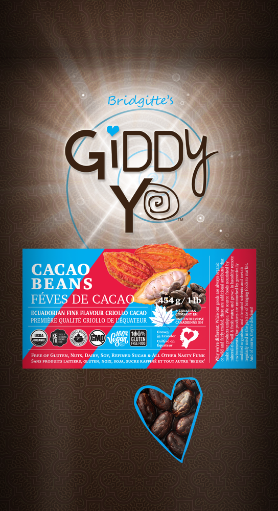 Giddy Yo Cacao Beans (Ecuador) Certified Organic 454g / 1 lb Front Label