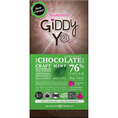 ** NEW & IMPROVED!** Mint 76% Dark Chocolate Bar Certified Organic 62g