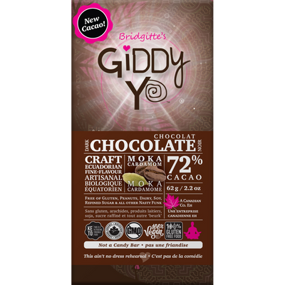 **NEW  & IMPROVED!** Moka Cardamom 72% Dark Chocolate Bar Certified Organic 62g